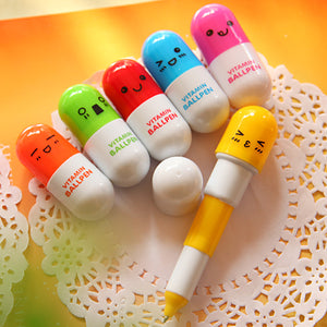 Vitamin Rectractable Pill Ballpoint Pen Stationery - Sweetie Kawaii