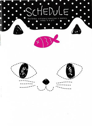 Curious Little White Kitty Cat with Fishy Treat Mini Memo Notebook Stationery - Sweetie Kawaii