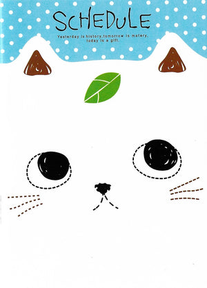 Curious Little White Kitty Cat with Leaf Mini Memo Notebook Stationery - Sweetie Kawaii