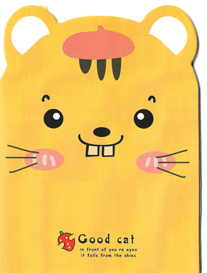 Yellow Kitty Cat with Strawberry with Apple Mini Memo Notebook Stationery - Sweetie Kawaii