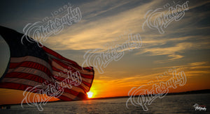 Sunset with American Flag
