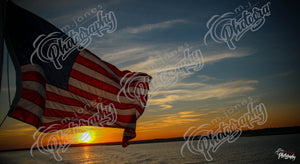 Sunset with American Flag - 2