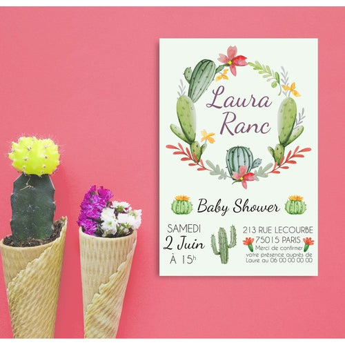 12 Invitations baby shower Cactus