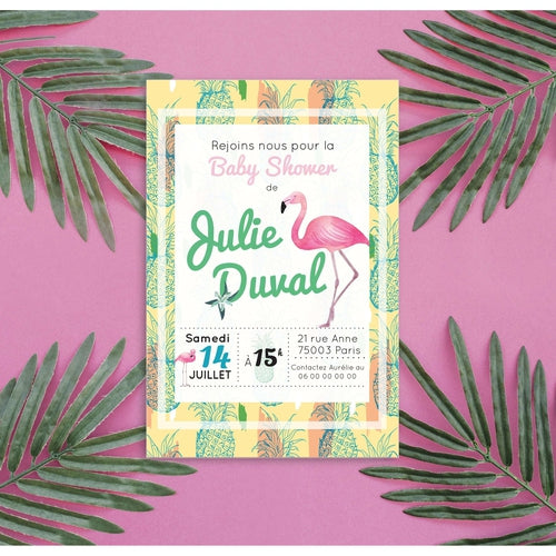 12 Invitations pour baby shower tropical avec son flamant rose et motifs ananas