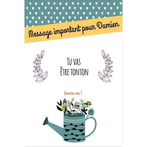"Carte à gratter  ""Tu vas être tonton"" Collection rétro"