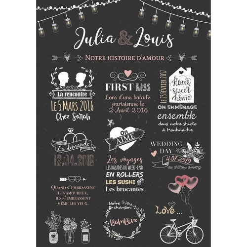 Chalkboard mariage : Affiche mariage notre histoire d'amour