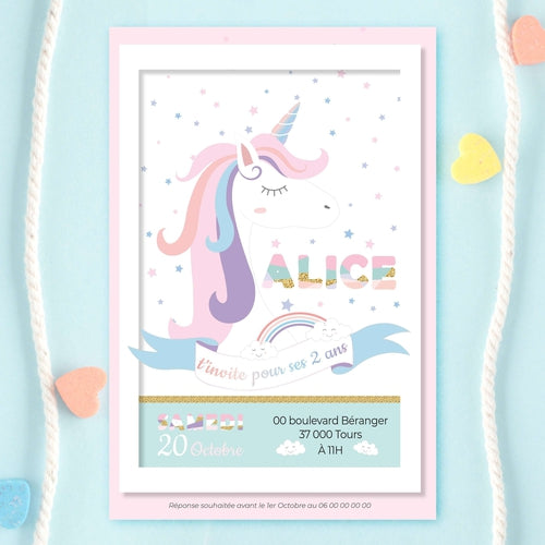 Invitation anniversaire licorne - Invitation anniversaire fille  - Invitation Licorne  - Carte Invitation Anniversaire - Princesse