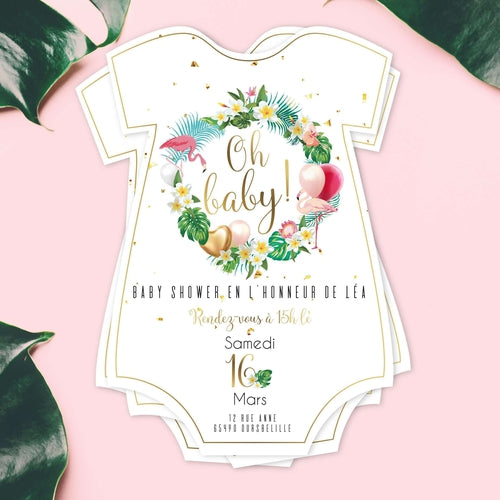 Invitation baby shower tropical, flamant rose - Lot de 12 invitations baby shower, découpe body de bébé.