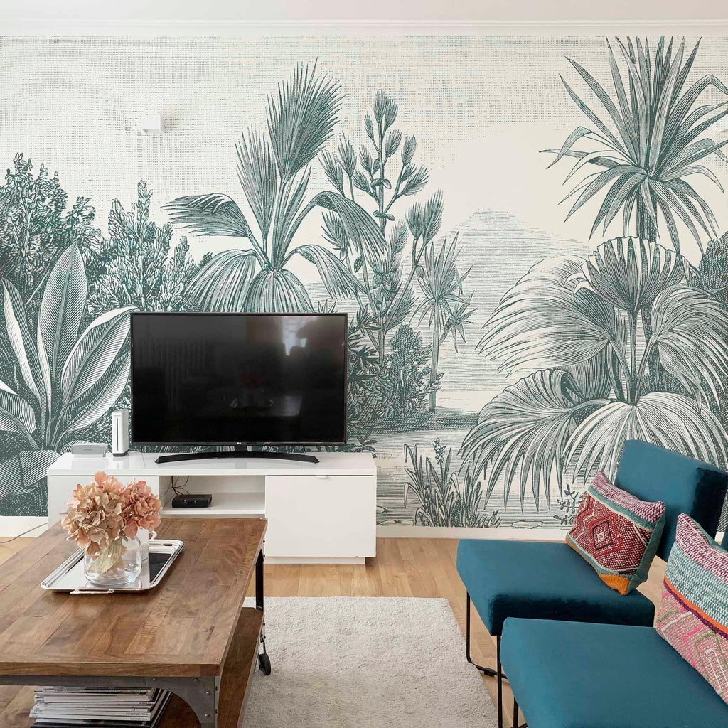 Vintage Jungle Mural Engraving. Customized and available in several colors