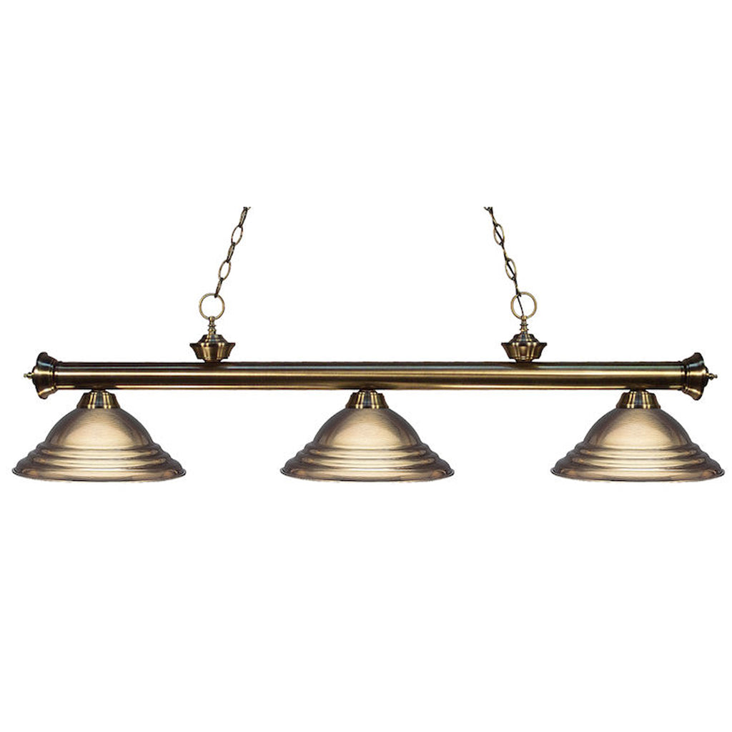 3 Shade Billiard Light with Antique Brass Metal Shades