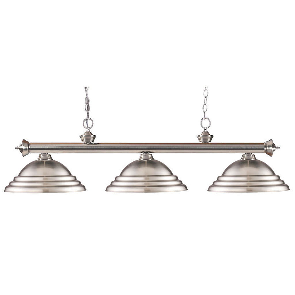 3 Shade Billiard Light with Brushed Nickel Metal Shades