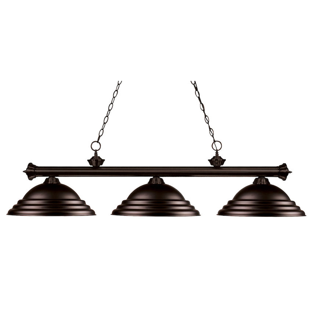 3 Shade Billiard Light with Oil Rubbed Bronze Metal Shades
