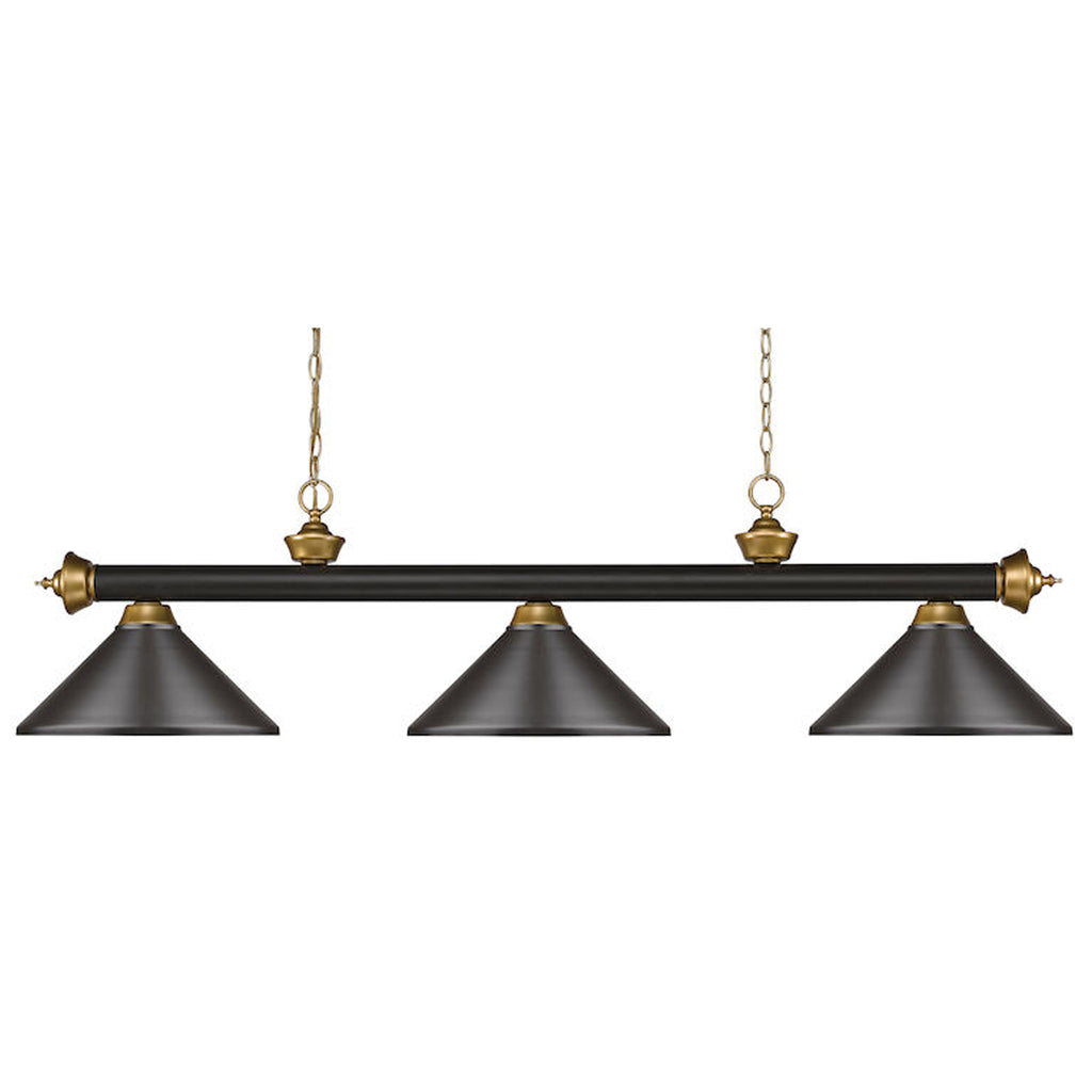 3 Shade Billiard Light with Oil Rubbed Bronze and Satin Metal Shades