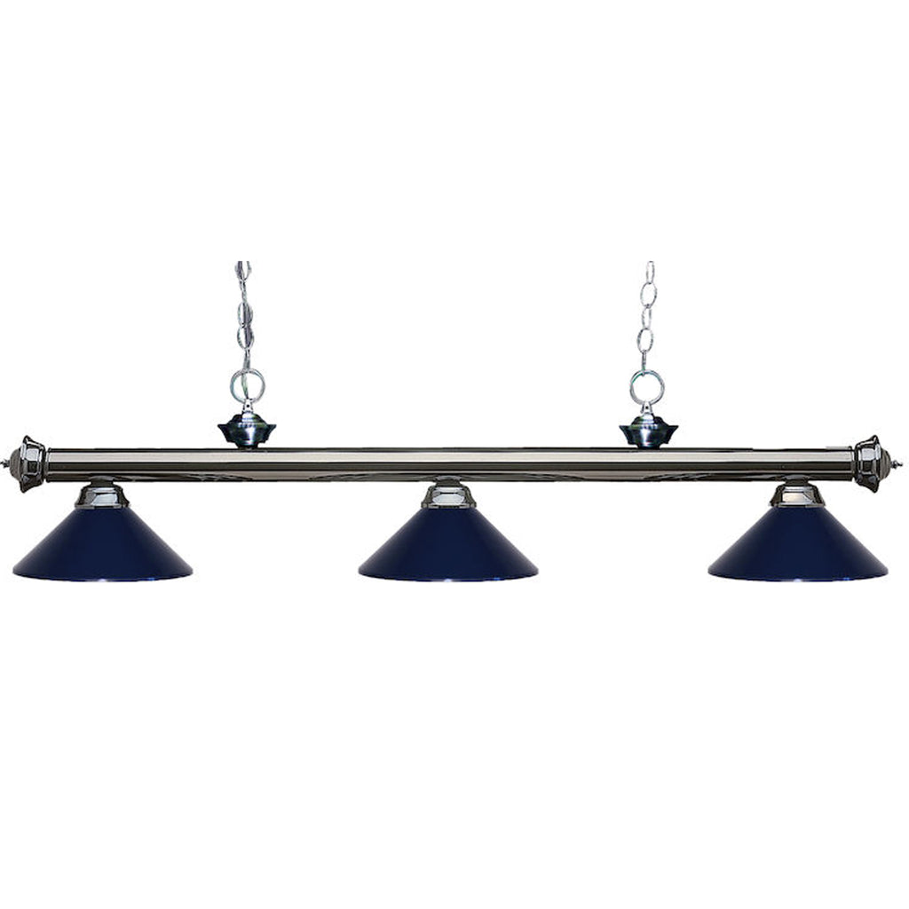 3 Shade Billiard Light with Blue Shades