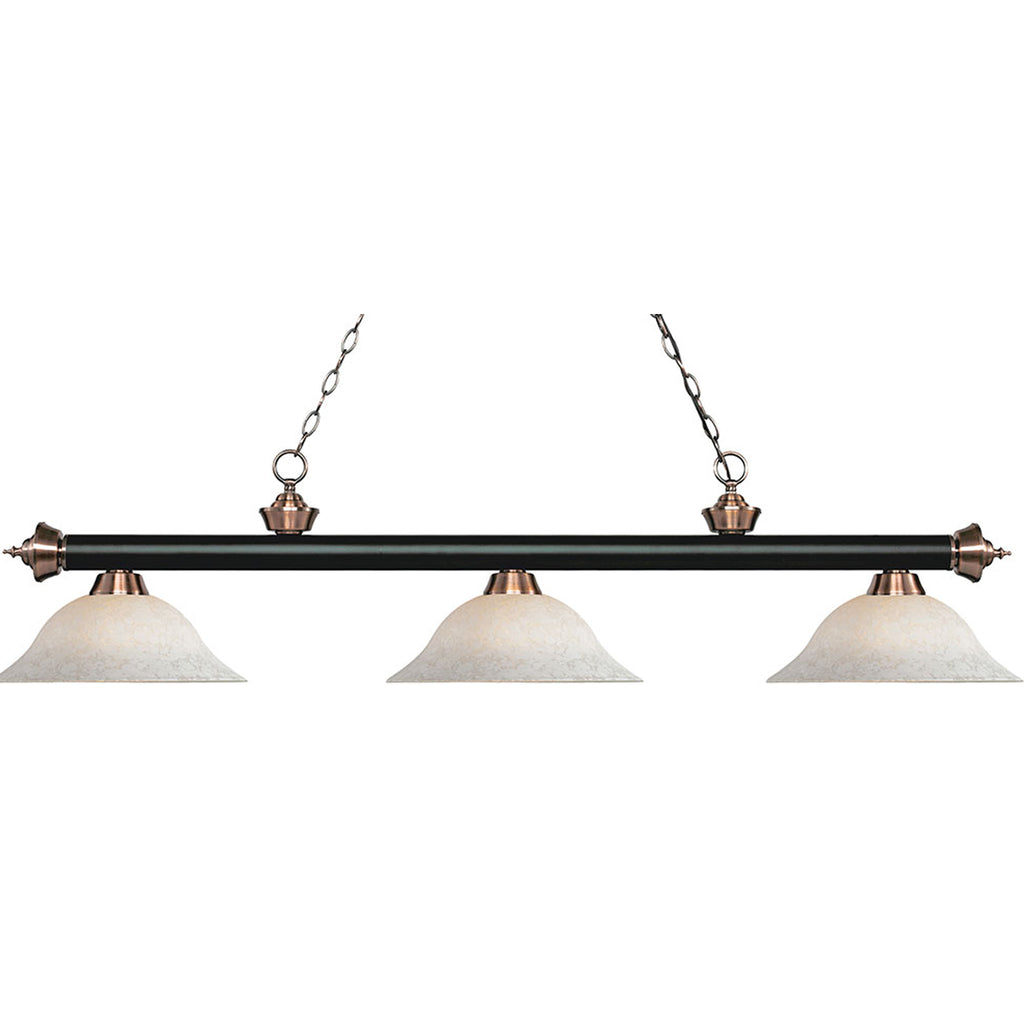3 Shade Billiard Light with Glass Mottle Shades & Antique Brass Accent
