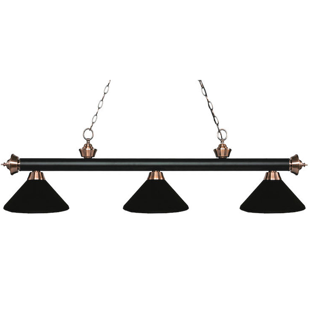 3 Shade Billiard Light Black with Antique Copper Accents