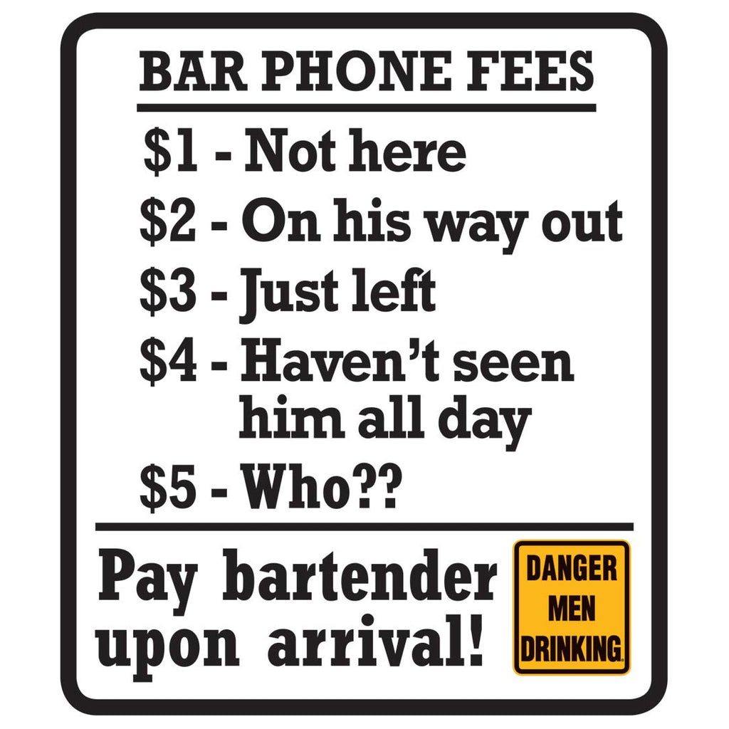 Bar Phone Fees Aluminum Metal Wall Art