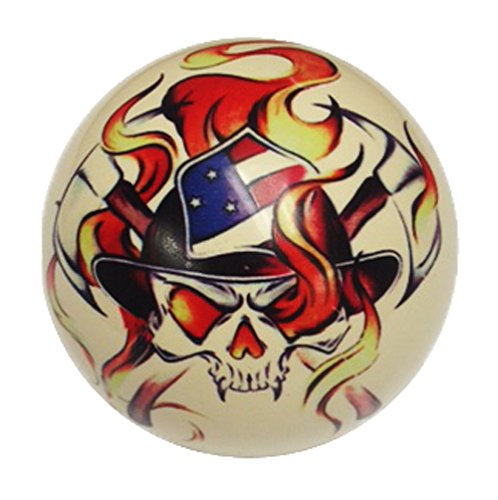 Firefighter Skull Pin-Up Custom Cue Ball