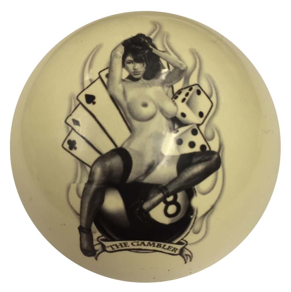 The Gambler Pin-Up Custom Cue Ball