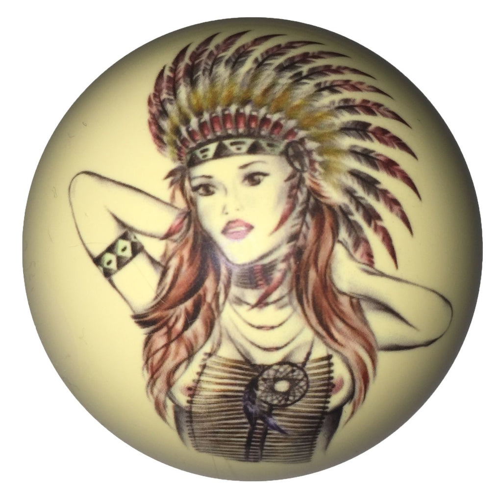 Indian Chief Pin-Up Custom Cue Ball