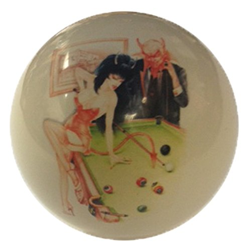 Devil & Girl Playing Pool Pin-Up Custom Cue Ball