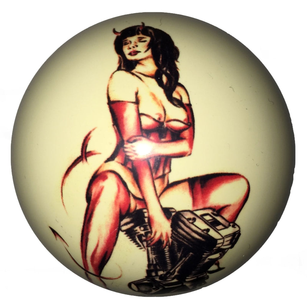 Devil Girl on Motor Pin-Up Custom Cue Ball