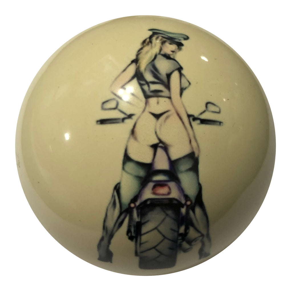 Moto Pin-Up Custom Cue Ball