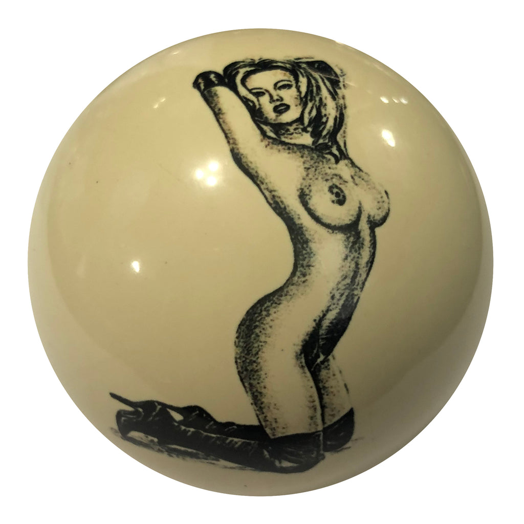 Leather Boot Girl Pin-Up Custom Cue Ball