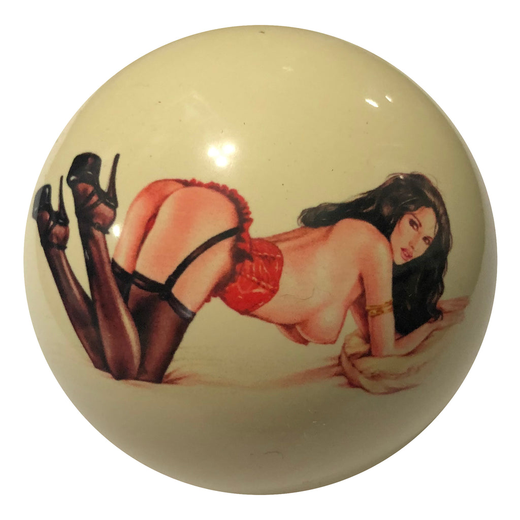 Pajama Party Pin-Up Custom Cue Ball