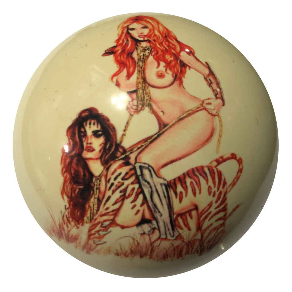 Ride Em Girl Pin-Up Custom Cue Ball