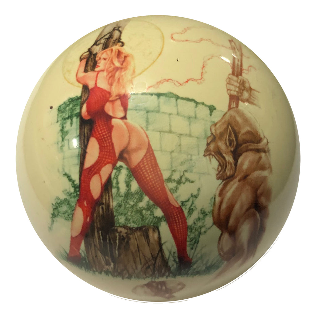 Gorilla with Girl Pin-Up Custom Cue Ball