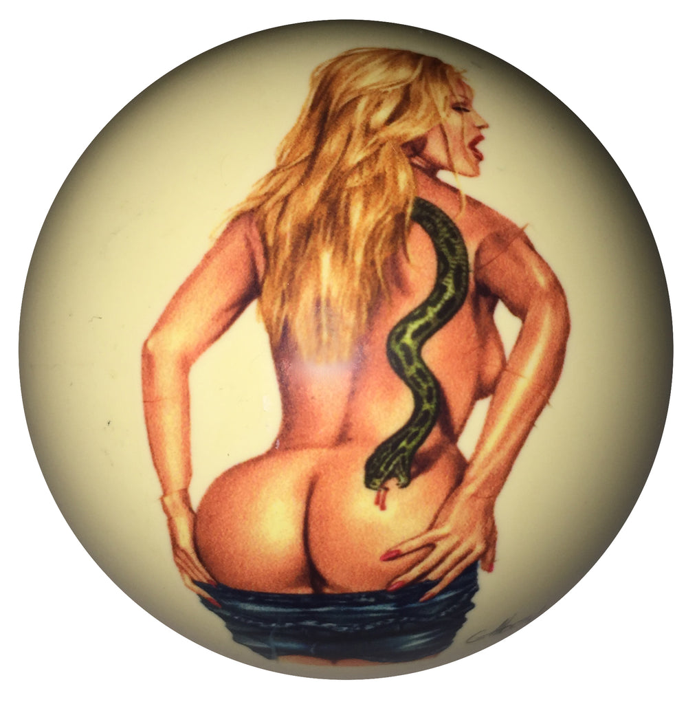 Back View Snake Girl Pin-Up Custom Cue Ball