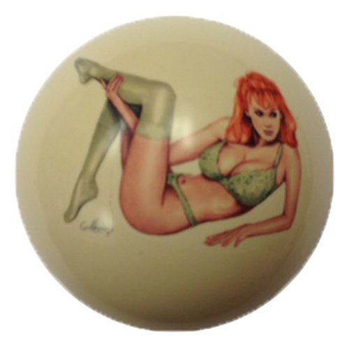 Green Lace Girl Pin-Up Custom Cue Ball