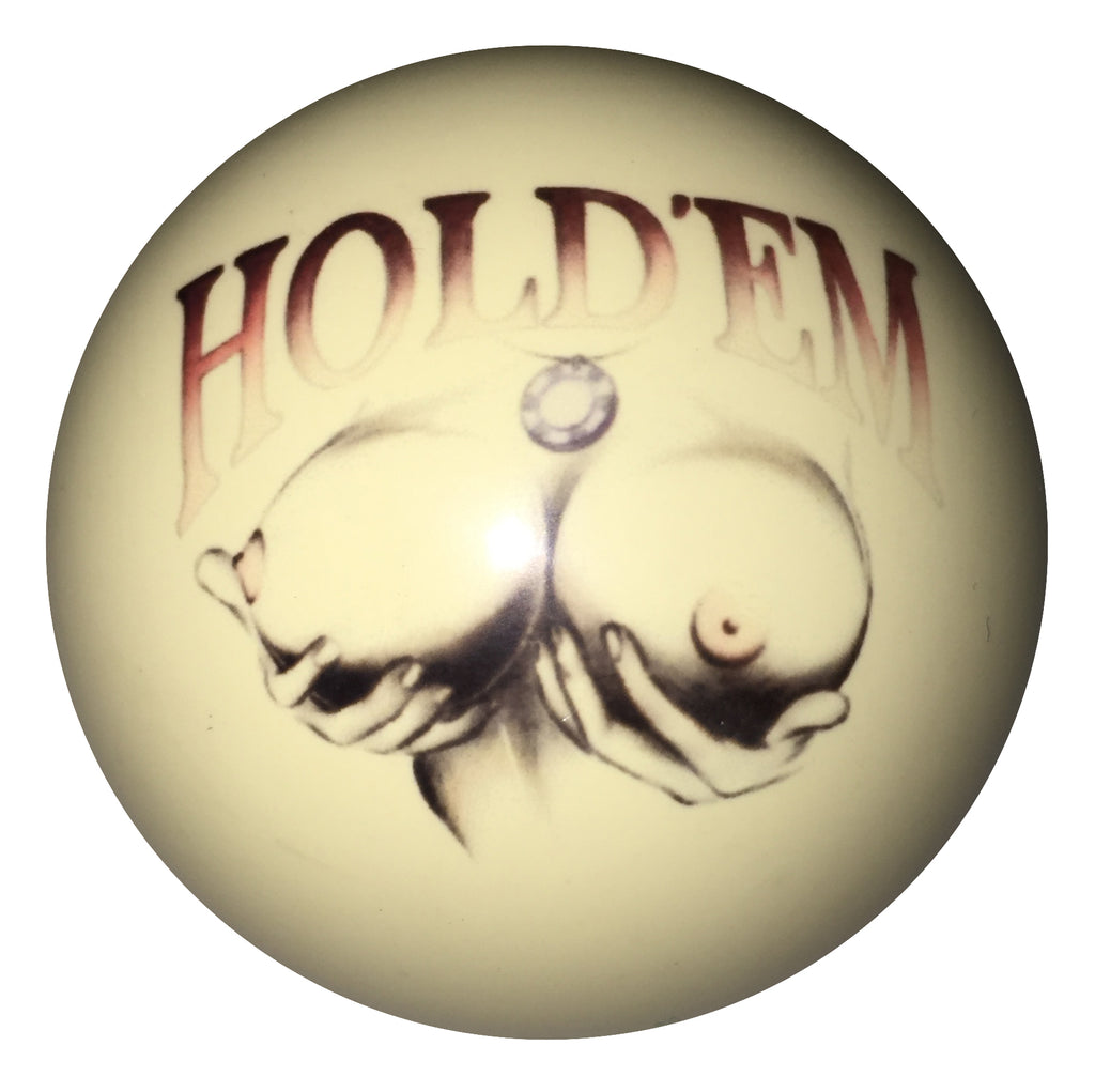 Hold Em Girl Pin-Up Custom Cue Ball