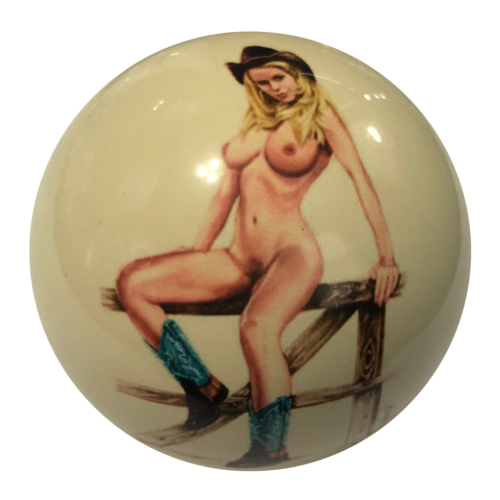 Cow Girl on Fence Pin-Up Custom Cue Ball
