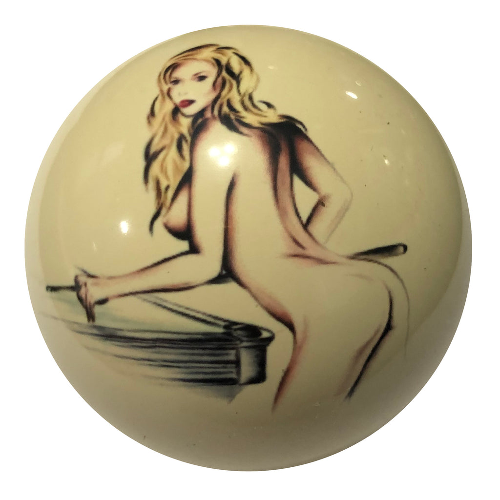 Blonde Girl Playing Pool Custom Cue Ball
