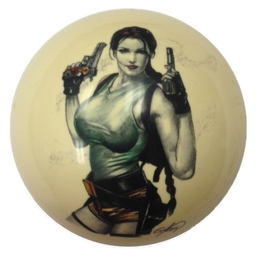 Fighting Girl Pin-Up Custom Cue Ball