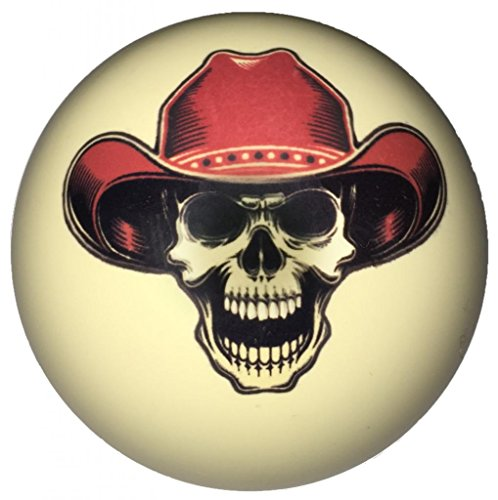 Red Cowboy Skull Custom Cue Ball
