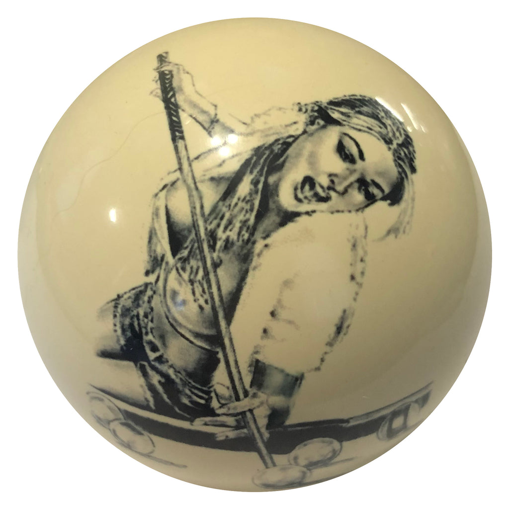 Blonde Girl Jump Shot Custom Cue Ball