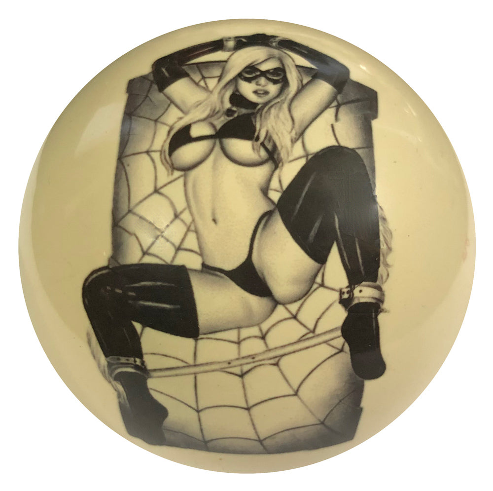 Spiderweb Girl Pin-Up Custom Cue Ball
