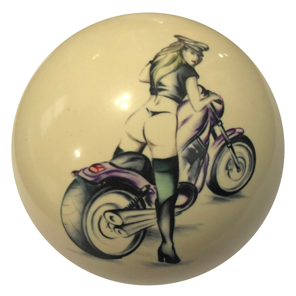 Motorcycle Girl Pin-Up Custom Cue Ball