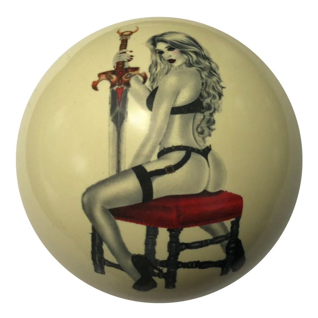 Sword Girl Pin-Up Back View Custom Cue Ball