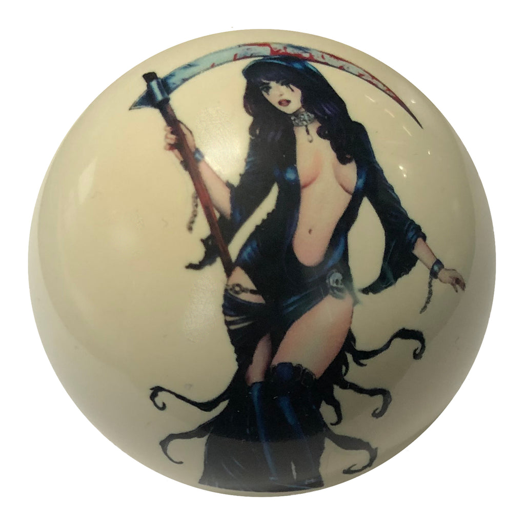 Grim Reaper Seductress Pin-Up Custom Cue Ball