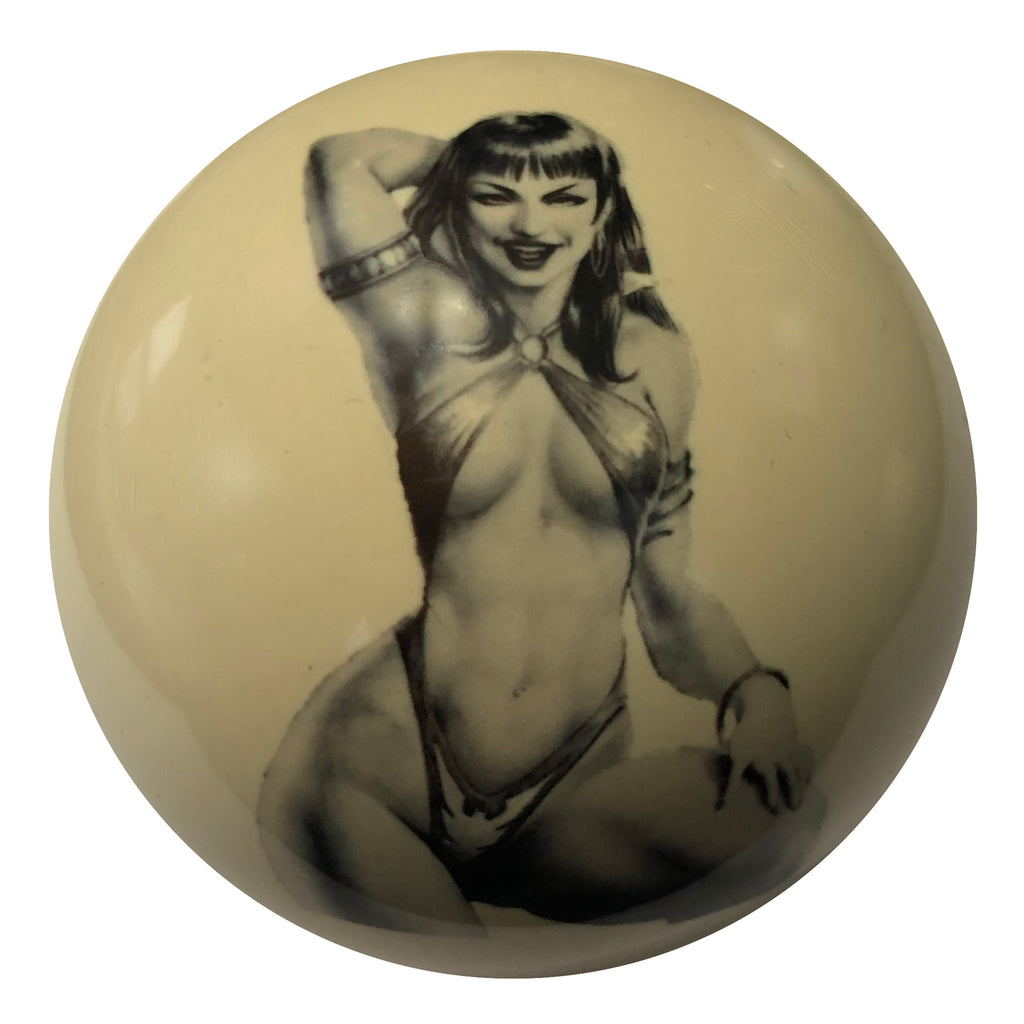 Strong Woman Pin-Up Custom Cue Ball