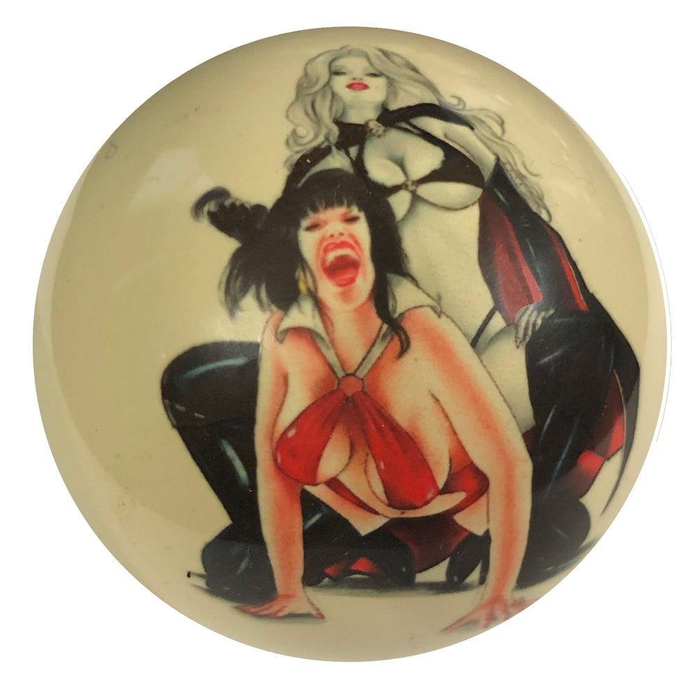 Devil Girl Brawl Pin-Up Custom Cue Ball