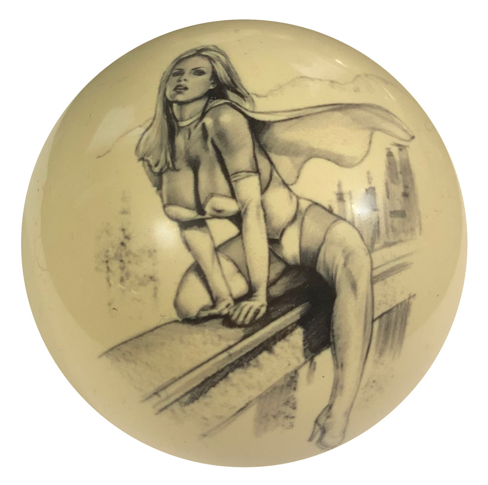 On the Ledge Pin-Up Custom Cue Ball
