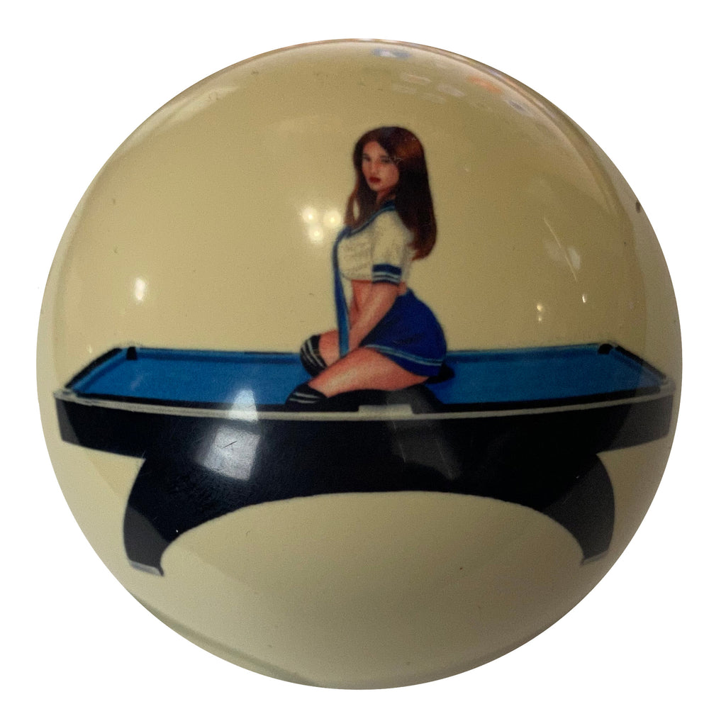 Pin-Up on Pool Table Cue Ball