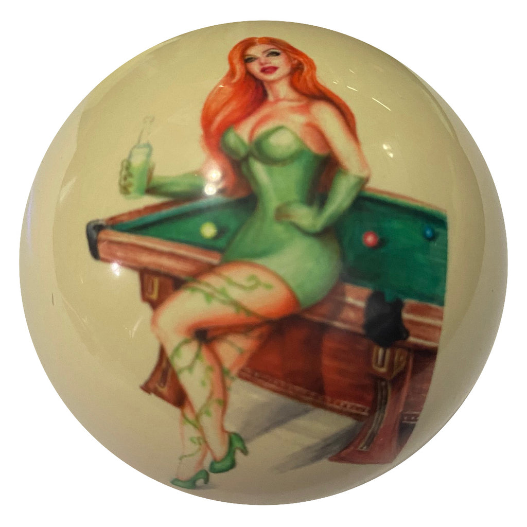 Green Ivy with Table Pin-Up Custom Cue Ball