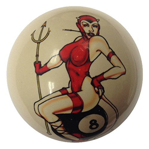 Devil Girl on 8 Ball Pin-Up Custom Cue Ball