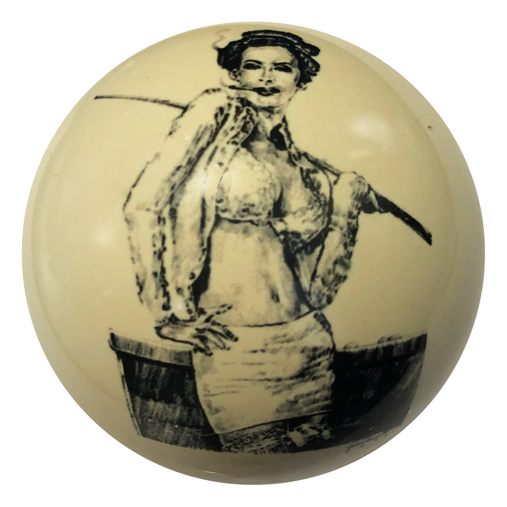 Pin-Up #5 Playing Pool Custom Cue Ball